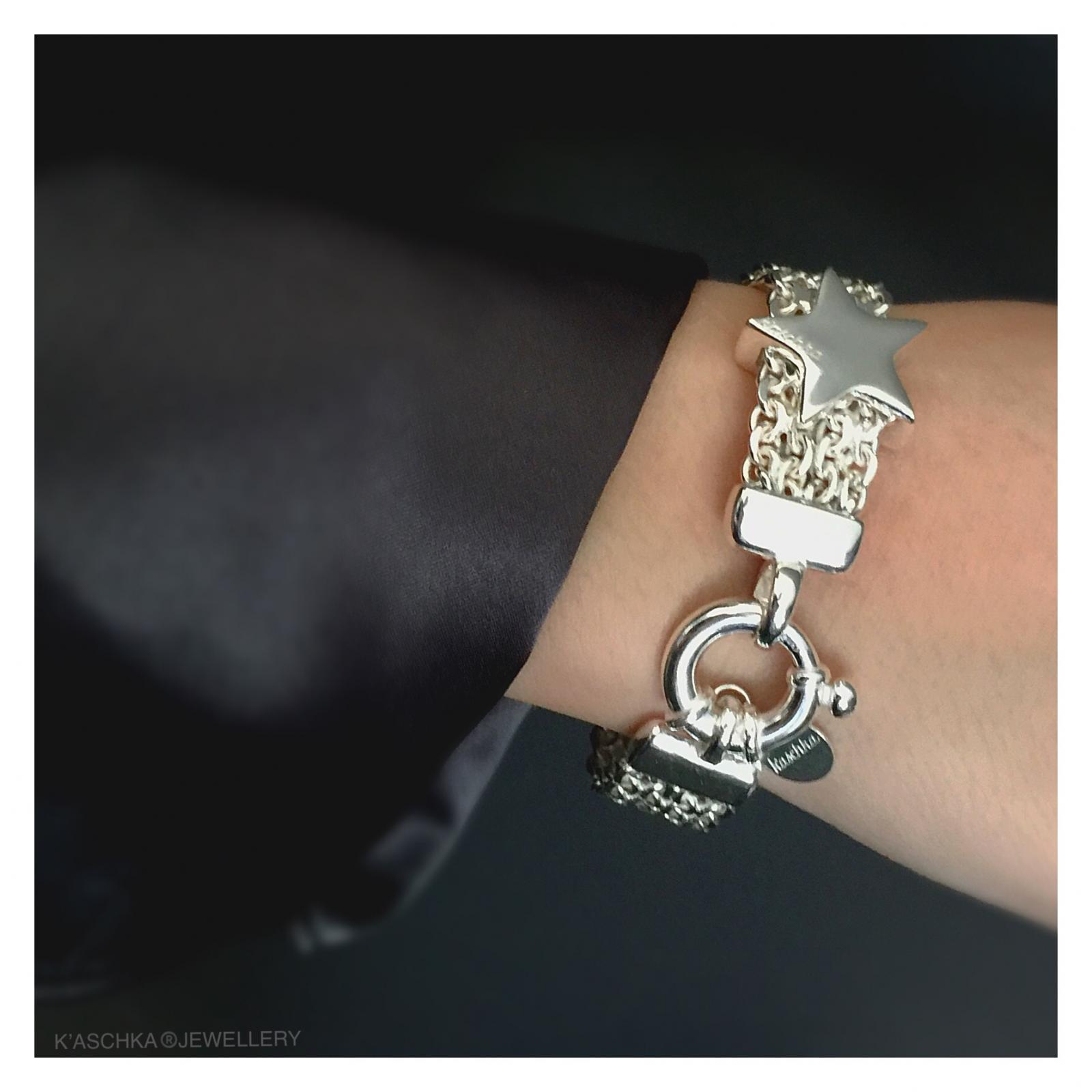 Massief 925 sterling zilveren armband met ster