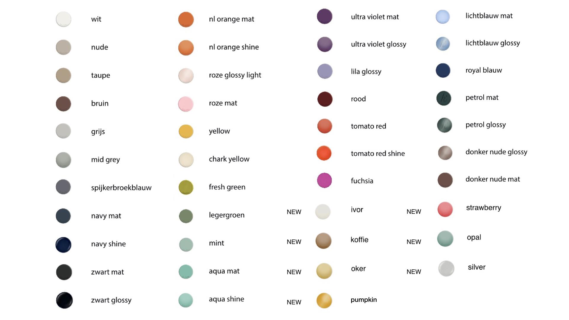 Alle kleuren lijst colors