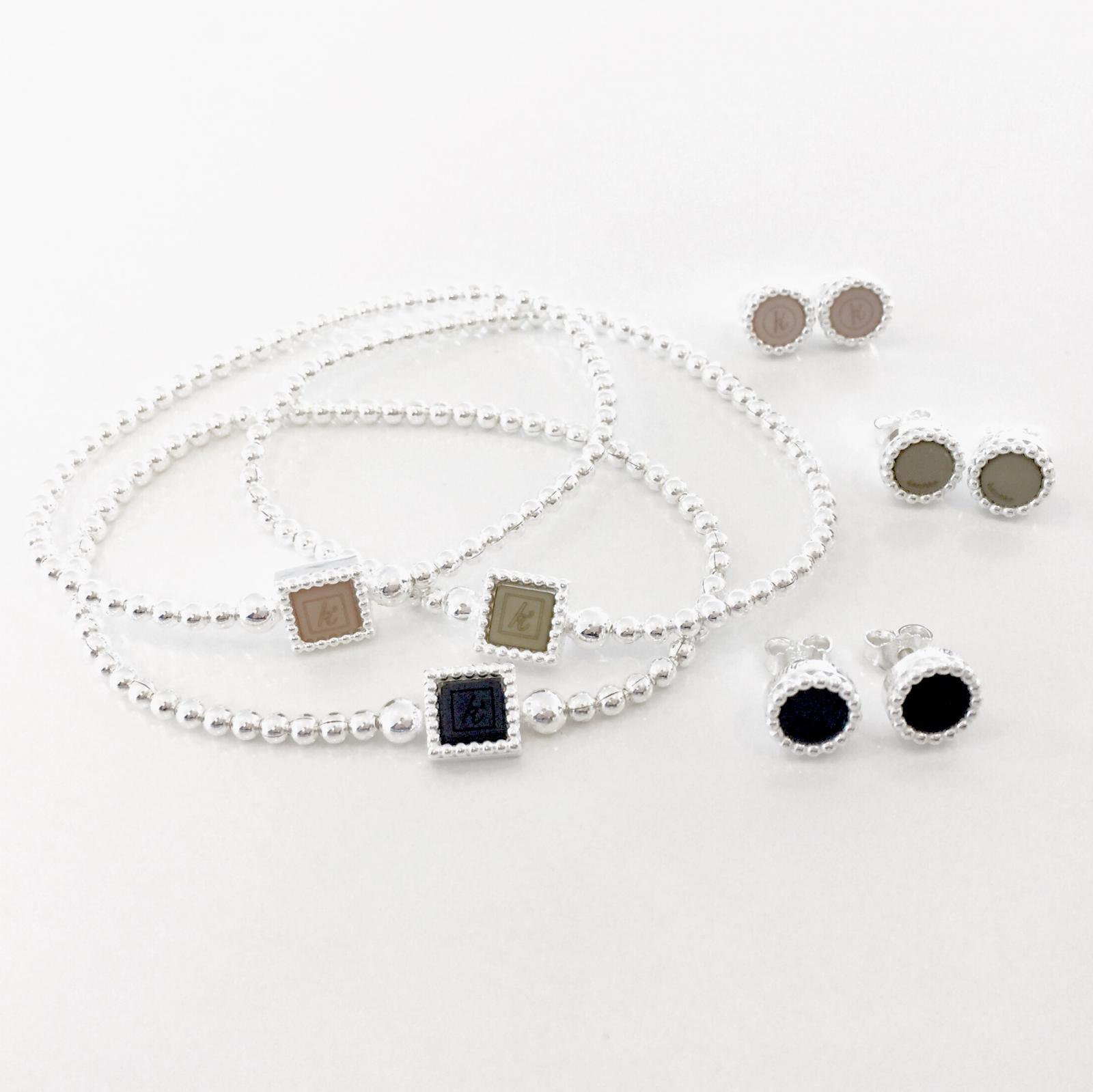 925 sterling zilveren oorstekers Flexibele 925 sterling zilveren armband met vierkante kasminis