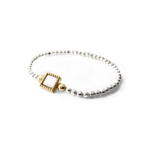 925 sterling zilver diamant cut flexibele armband vierkant