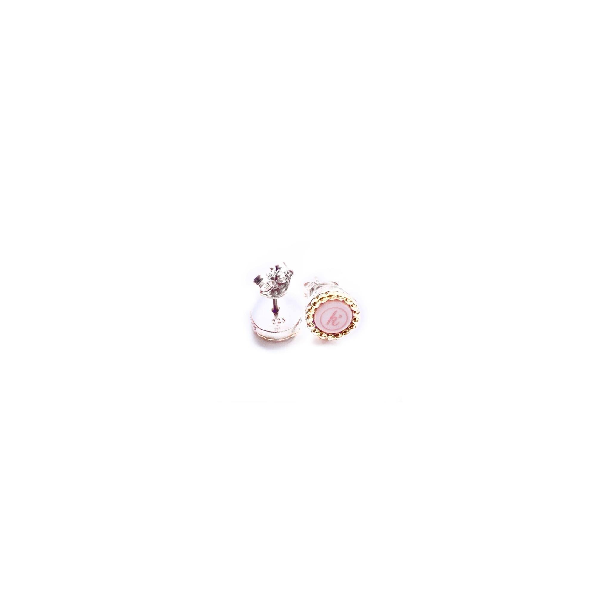925 sterling zilveren oorstekers 18 karaats gouden rand