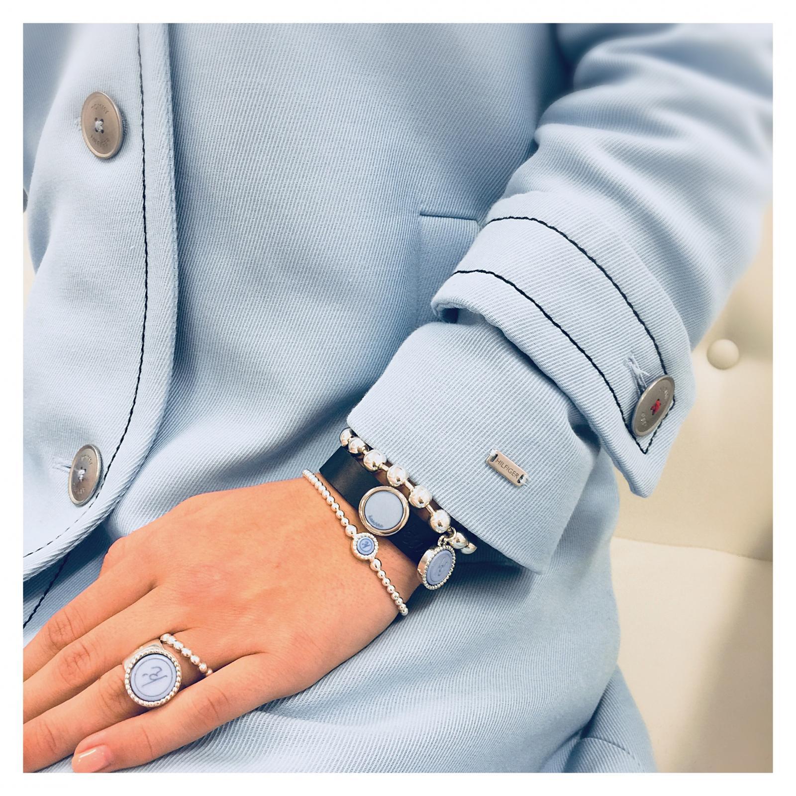 Plated zilveren ballchain armband Flexibele 925 sterling zilveren ring Flexibele 925 sterling zilveren armband Wisselbare 925 sterling zilveren ring Leren armband navy 925 sterling zilveren schuiver