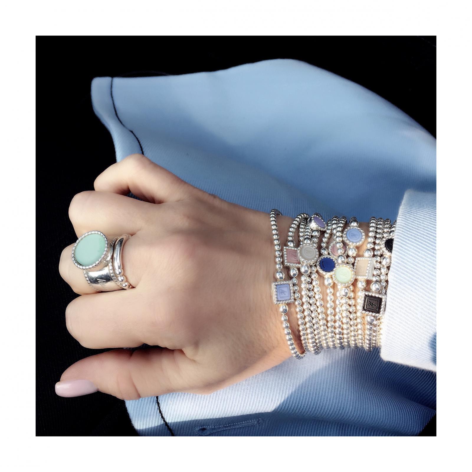 Flexibele 925 sterling zilveren armband vierkante vaste inlay Flexibele 925 sterling zilveren armband ronde vaste inlay Massief 925 sterling zilveren ring met wisselbare inlay Flexibele 925 sterling zilveren ring