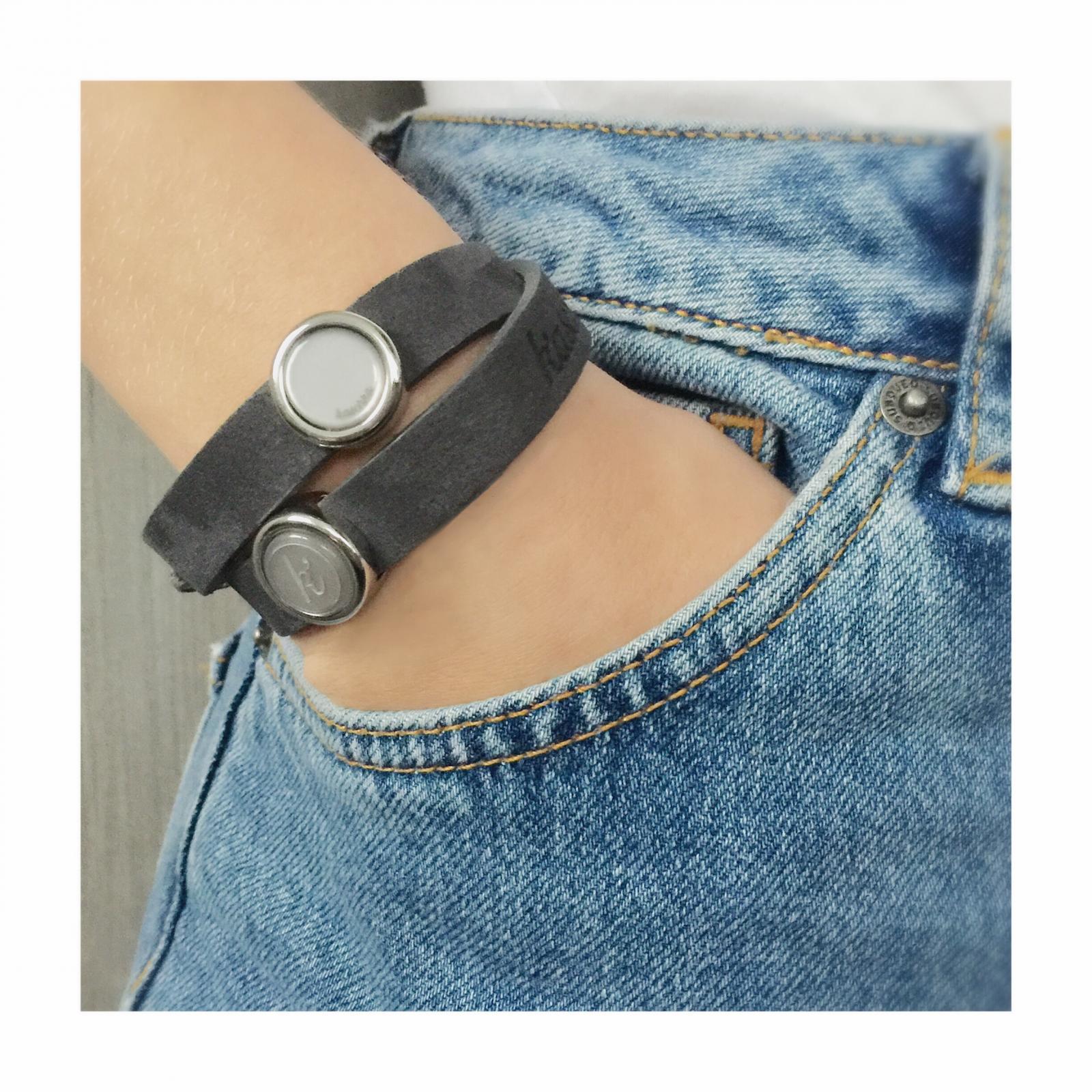 Dubbele leren armband Plated schuiver met vaste kleur inlay