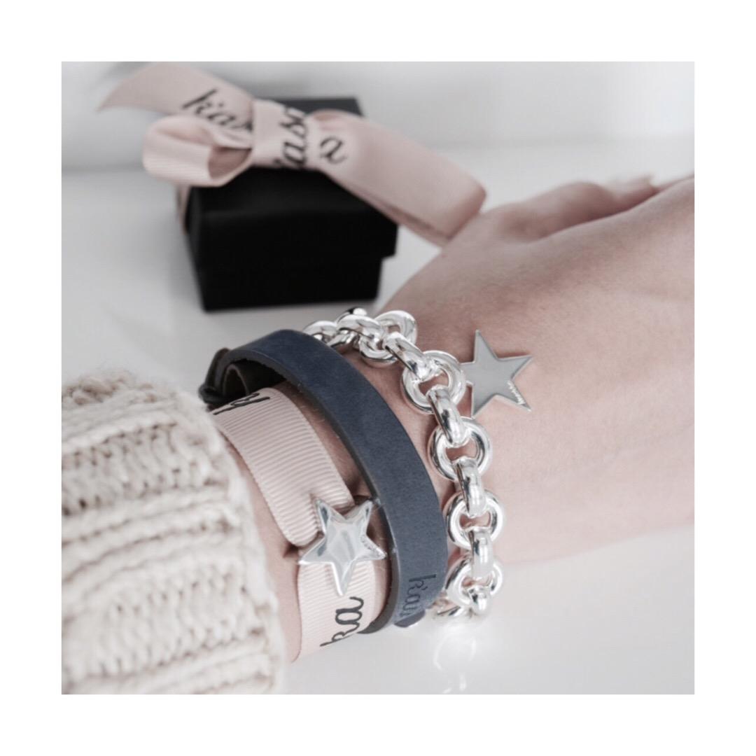 Plated ster schuiver 925 ster schuiver Leren armband 925 sterling zilveren armband met ster