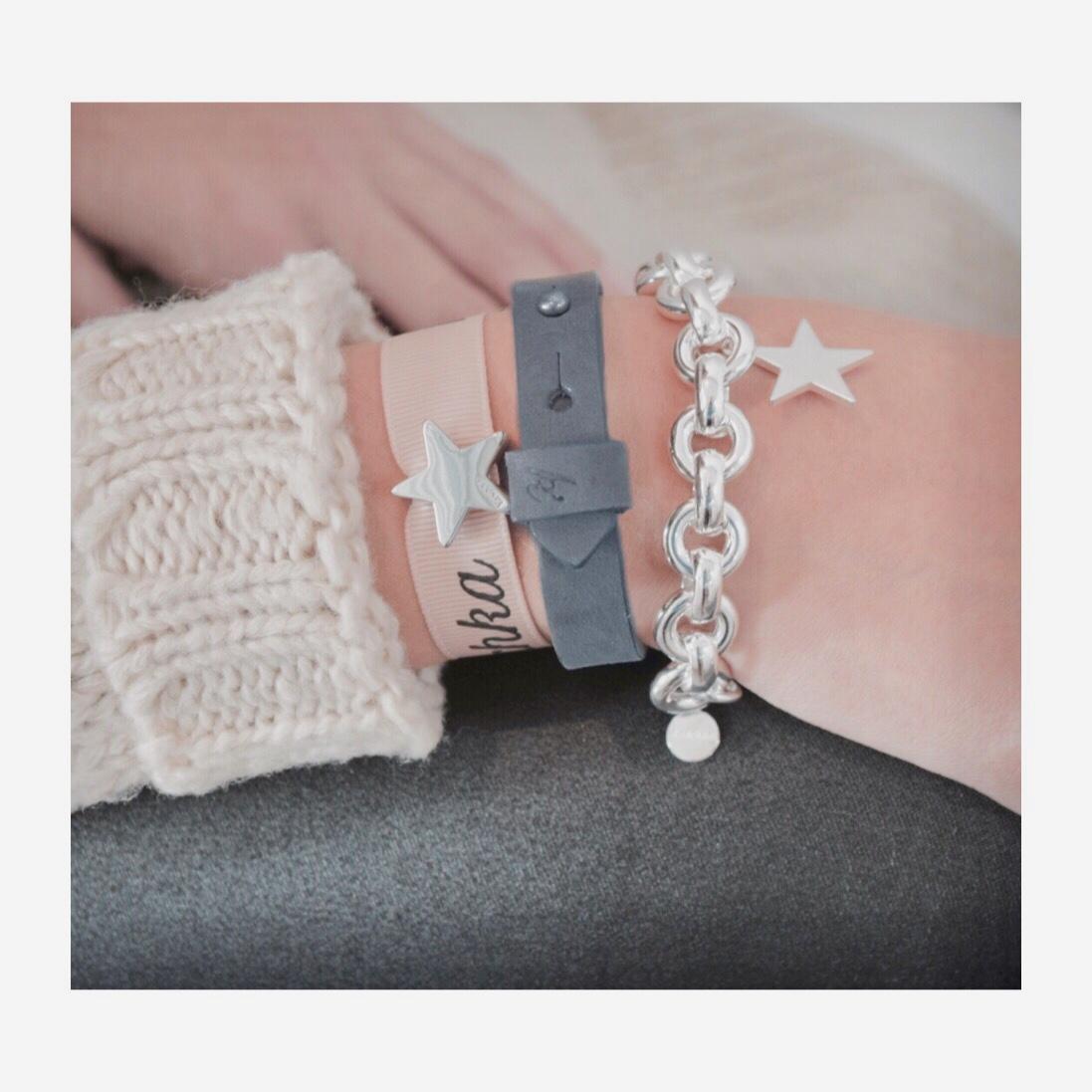 Leren armband 925 sterling zilveren armband met ster Plated ster schuiver 925 ster schuiver