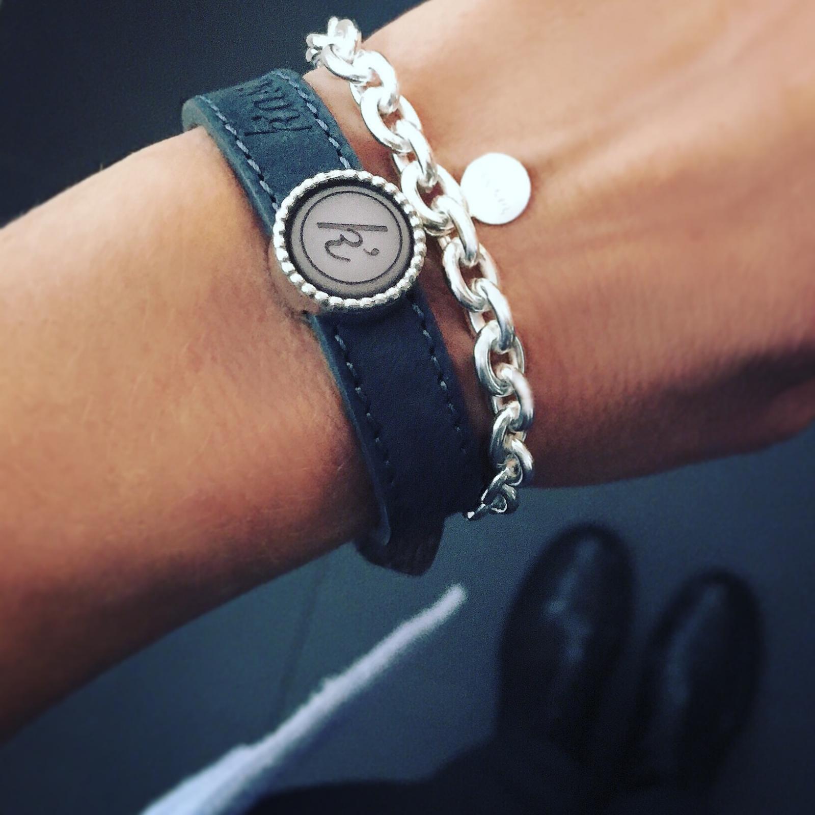 Leren armband de luxe 925 sterling zilveren schuiver 925 sterling zilveren schakelarmband