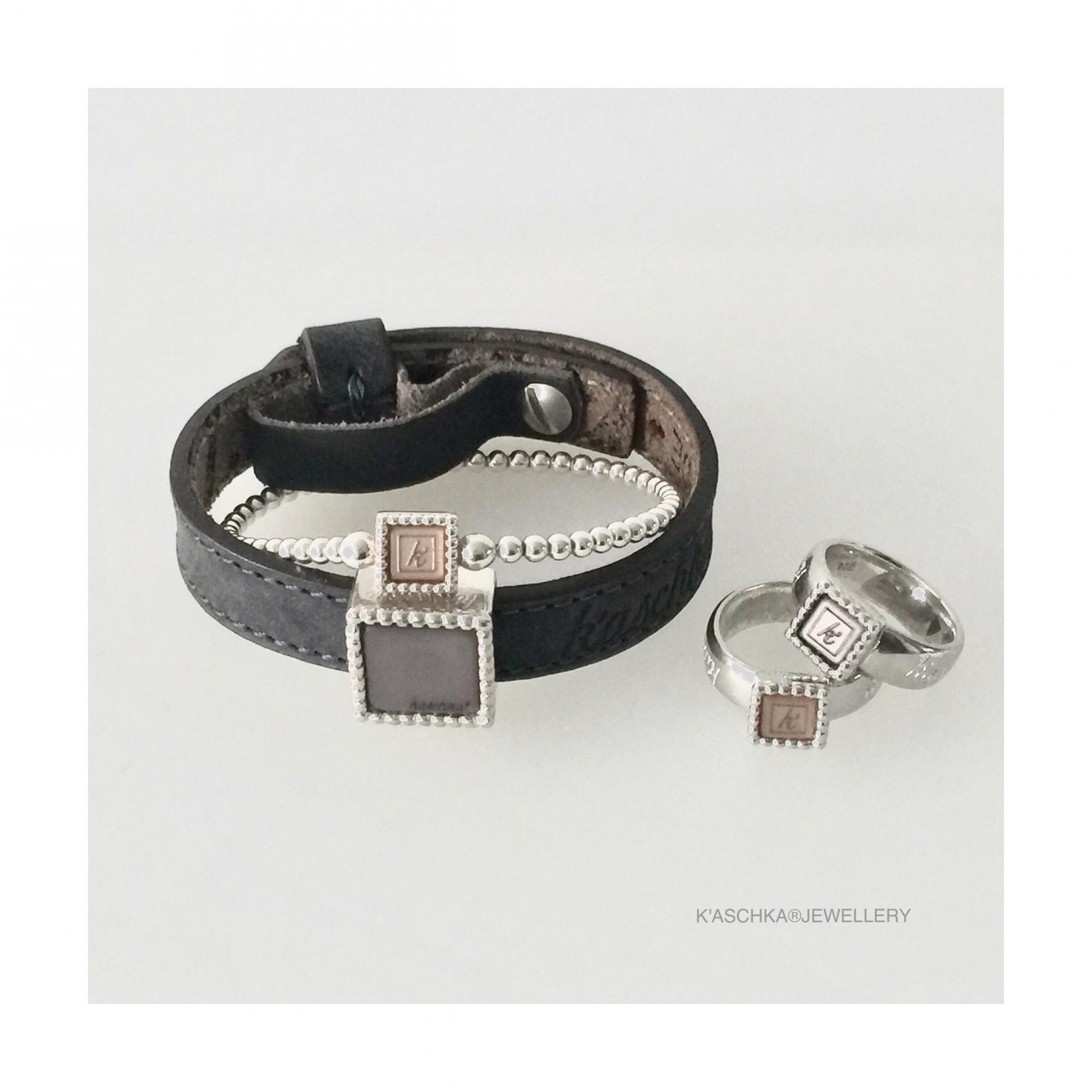 Leren armband de luxe 925 sterling zilveren vierkante schuiver Flexibele 925 sterling zilveren armband met vierkante kasminis 925 sterling zilveren vierkante kasminis ring