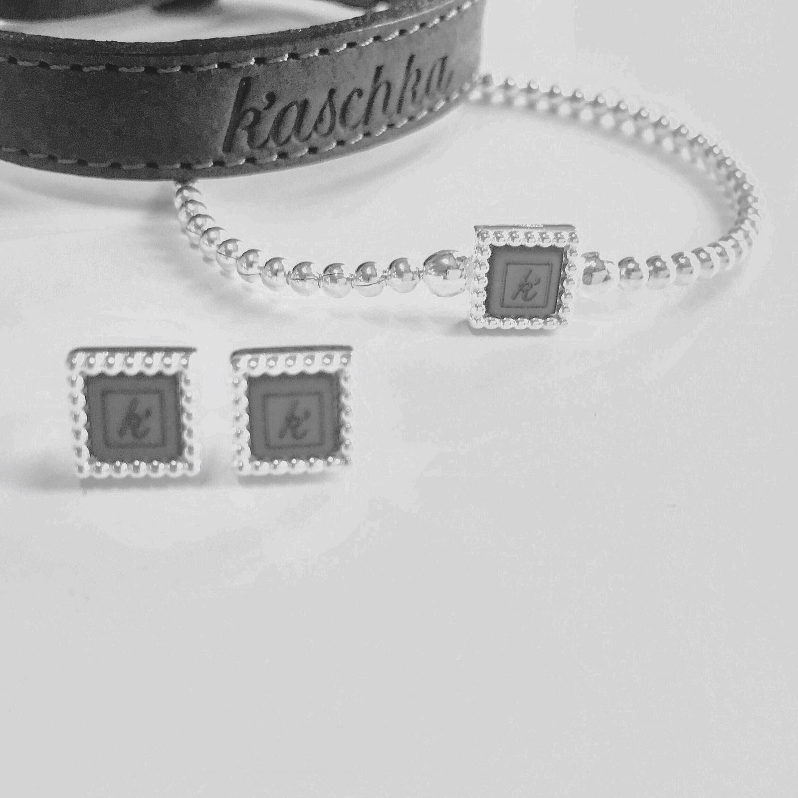 Leren armband de luxe Flexibele 925 sterling zilveren armband met vierkante kasminis 925 sterling zilveren vierkante stekers