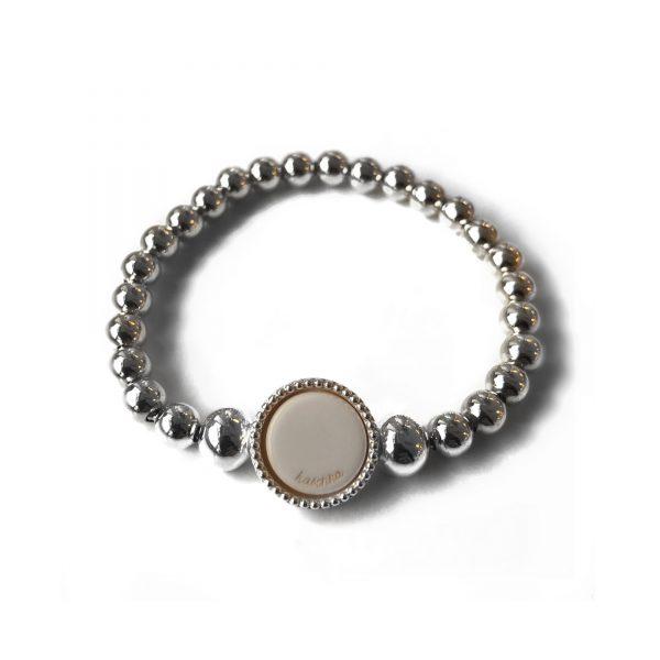 Grove 925 sterling zilveren ballchain armband met wisselbare inlay zilver