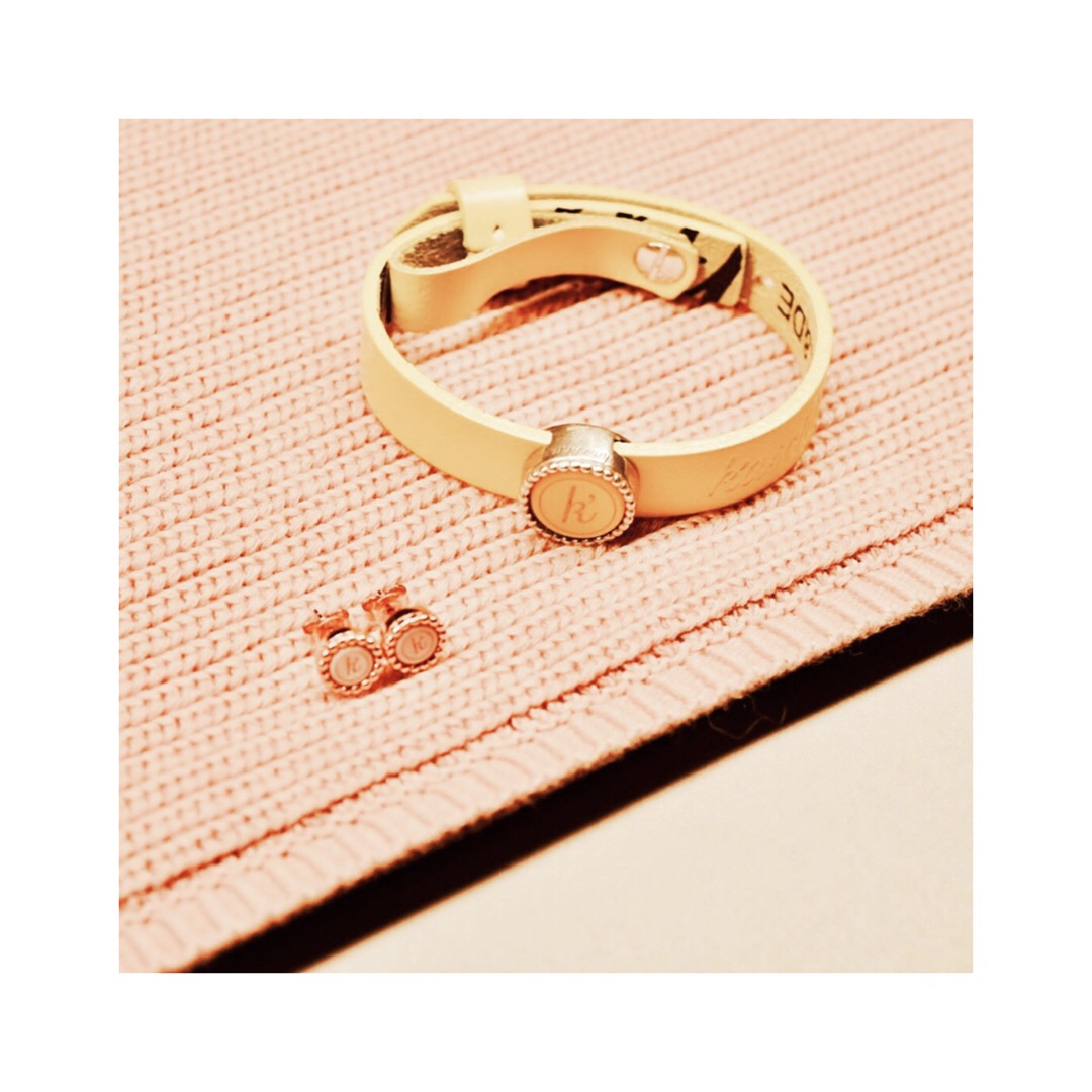 Gele leren armband 925 sterling zilveren wisselbare schuiver 925 sterling zilveren oorstekers met 18 karaats rose laag