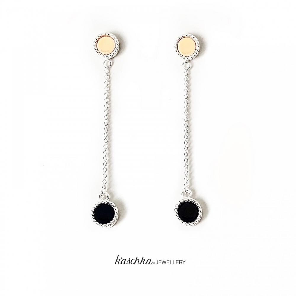 925 sterling zilveren oorhangers dubbele kasminis 2x2 vaste kleuren
