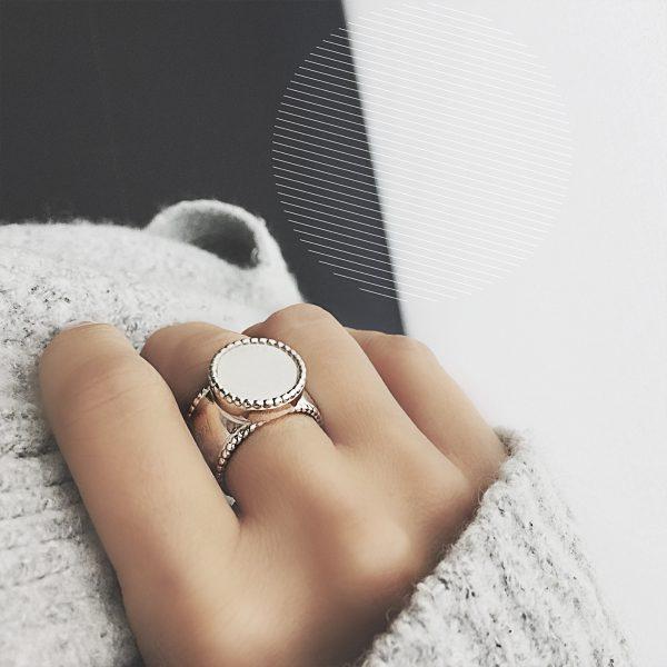 925 sterling zilver ronde wisselbare ring K'aschon sierlijke rand