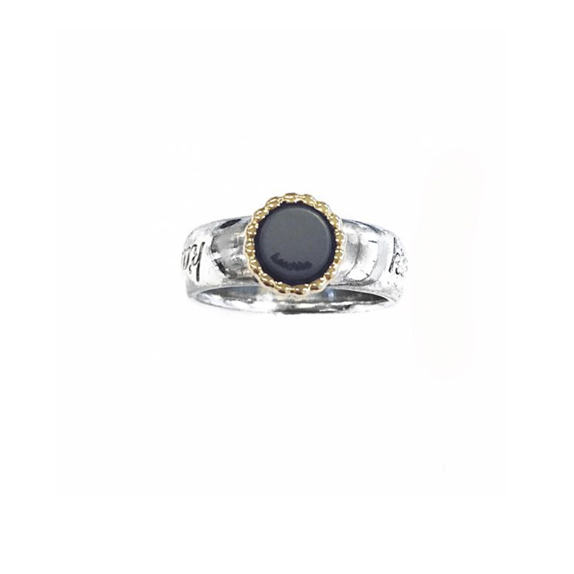 925 sterling zilveren ring met massief 18 karaats gouden rand kasminis rond