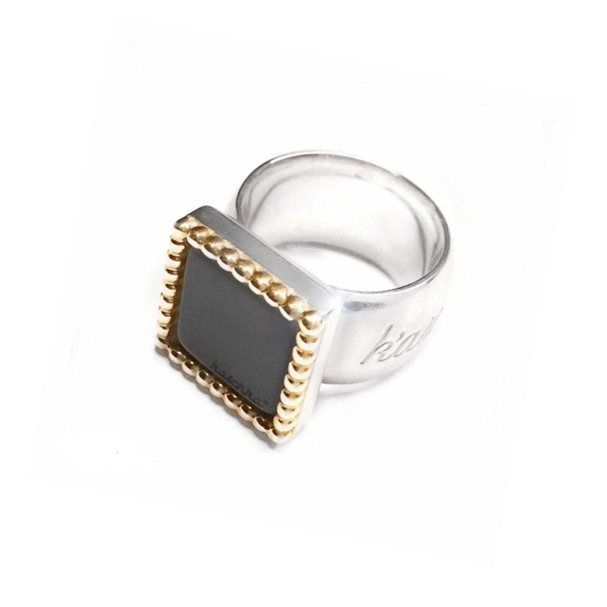 925 sterling zilveren vierkante wisselbare ring met 18 karaats gouden rand