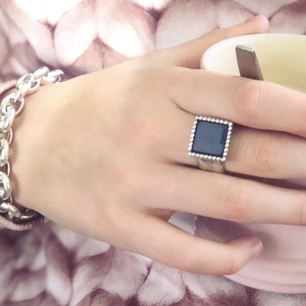 925 sterling zilveren vierkante wisselbare ring