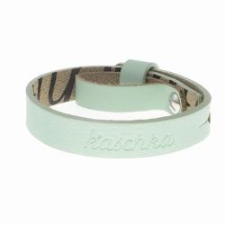 Glad leren armband mint