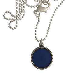 Zilver plated wisselbare ketting 90 cm lang inlay large royalblauw