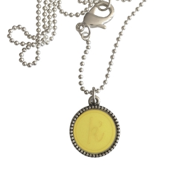 Zilver plated wisselbare ketting 90 cm lang inlay large geel