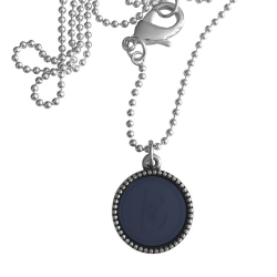 Zilver plated wisselbare ketting 90 cm lang inlay large navy