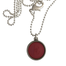 Zilver plated wisselbare ketting 90 cm lang inlay large rood