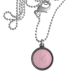 Zilver plated wisselbare ketting 90 cm lang inlay large roze