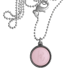 Zilver plated wisselbare ketting 90 cm lang inlay large roze glossy