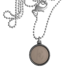 Zilver plated wisselbare ketting 90 cm lang inlay large taupe