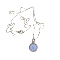 925 sterling zilveren wisselbare ketting inlay midi lichtblauw glossy