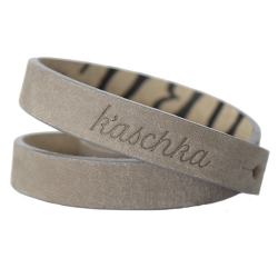 Suede leren armband dubbel taupe