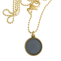 Goud plated wisselbare ketting 90 cm lang inlay large spijkerbroekblauw