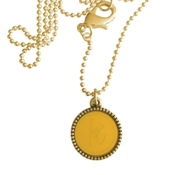 Goud plated wisselbare ketting 90 cm lang inlay large geel
