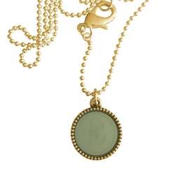 Goud plated wisselbare ketting 90 cm lang inlay large legergroen