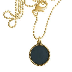 Goud plated wisselbare ketting 90 cm lang inlay large navy