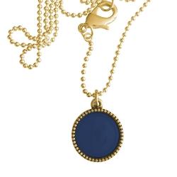 Goud plated wisselbare ketting 90 cm lang inlay large royalblauw