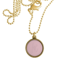Goud plated wisselbare ketting 90 cm lang inlay large roze