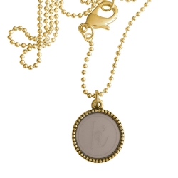 Goud plated wisselbare ketting 90 cm lang inlay large taupe