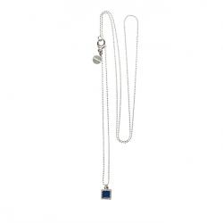 925 sterling zilveren lange ketting vaste kasminis vierkant royalblauw