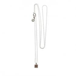 925 sterling zilveren lange ketting vaste kasminis vierkant bruin