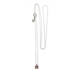 925 sterling zilveren lange ketting vaste kasminis vierkant donkernude