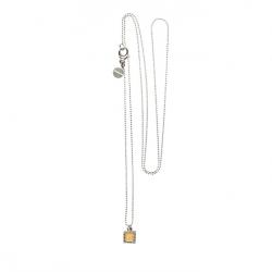 925 sterling zilveren lange ketting vaste kasminis vierkant geel