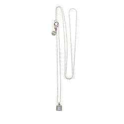 925 sterling zilveren lange ketting vaste kasminis vierkant grijs