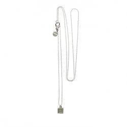 925 sterling zilveren lange ketting vaste kasminis vierkant legergroen