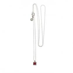 925 sterling zilveren lange ketting vaste kasminis vierkant rood