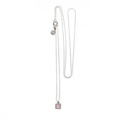 925 sterling zilveren lange ketting vaste kasminis vierkant roze