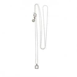 925 sterling zilveren lange ketting vaste kasminis vierkant wit