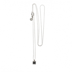 925 sterling zilveren lange ketting vaste kasminis vierkant zwart