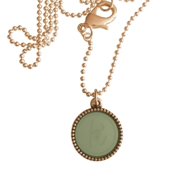 Rose plated wisselbare ketting 90 cm lang inlay large legergroen