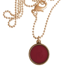 Rose plated wisselbare ketting 90 cm lang inlay large rood
