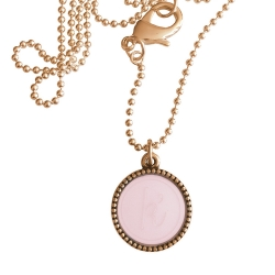 Rose plated wisselbare ketting 90 cm lang inlay large roze glossy